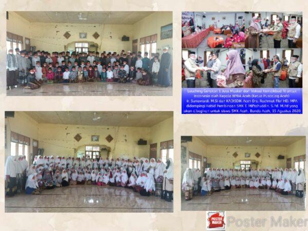 Santri SMKS Nurul Islam (NURIS)  Menerima Masker dari Vokasi Kemendikbud RI